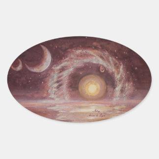 El objeto y las dos lunas de Hoag Pegatina Ovalada