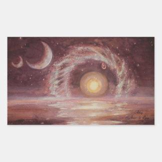 El objeto y las dos lunas de Hoag Pegatina Rectangular