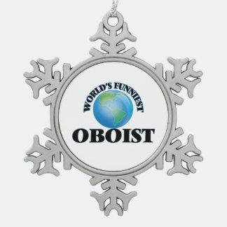 El oboe más divertido del mundo adorno de peltre en forma de copo de nieve