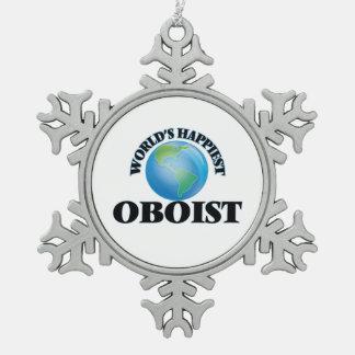 El oboe más feliz del mundo adorno de peltre en forma de copo de nieve