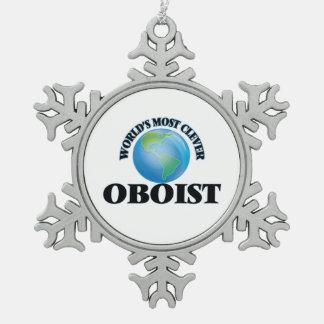 El oboe más listo del mundo adorno de peltre en forma de copo de nieve