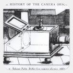El obscura reflejo de la cámara de caja pegatina cuadrada