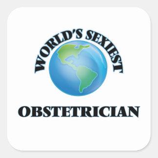 El obstétrico más atractivo del mundo calcomania cuadrada personalizada