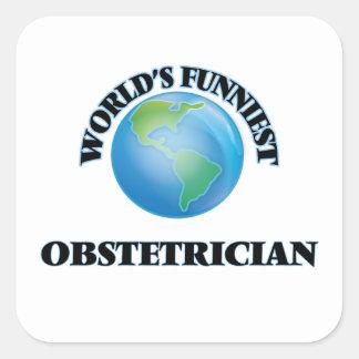 El obstétrico más divertido del mundo calcomanías cuadradass