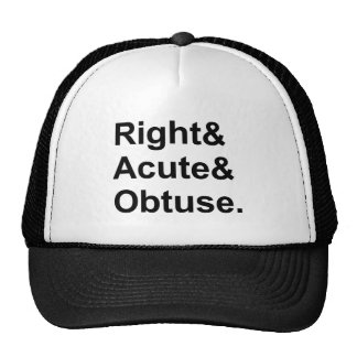 El | obtuso agudo derecho 3 tipos de ángulos gorras de camionero