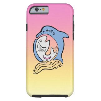 El océano de la cara del delfín y de los pescados funda resistente iPhone 6