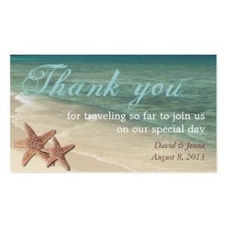 El océano de las estrellas de mar le agradece tarjetas de visita