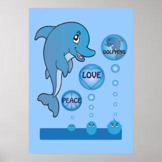 El océano de los delfínes del amor de la paz del posters