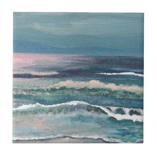 El océano del grillo - paisaje marino de la playa azulejo cuadrado pequeño