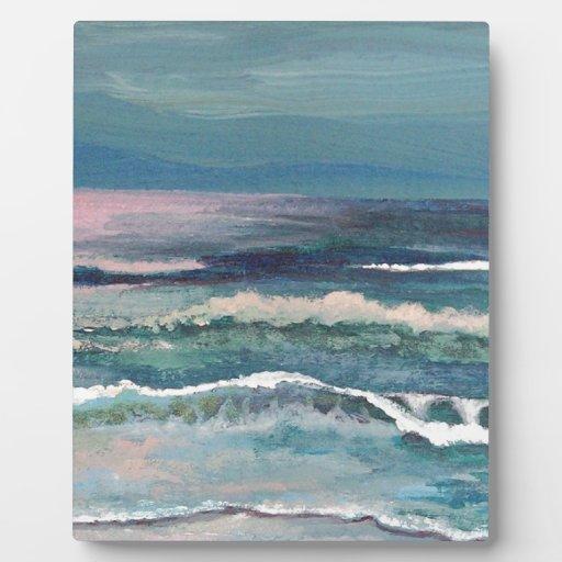 El océano del grillo - paisaje marino de la playa placa para mostrar