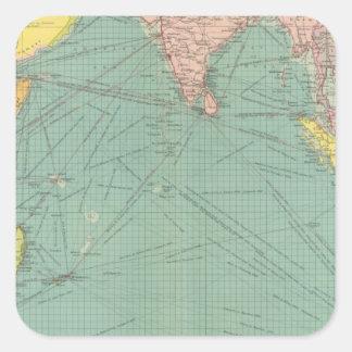 El Océano Índico 3 Calcomanía Cuadradase
