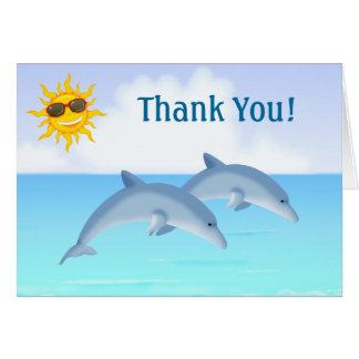 El océano lindo del delfín le agradece las tarjeta