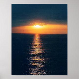 El océano Puesta del sol-Añade el texto Póster