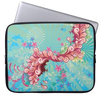 El océano rosado de la aguamarina de moda remolina manga portátil