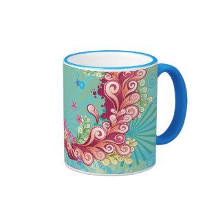 El océano rosado de la aguamarina de moda remolina taza de dos colores