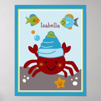 El océano soña/Sealife/poster personalizado cangre