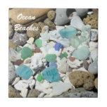 El océano vara el vidrio azul decorativo del mar d