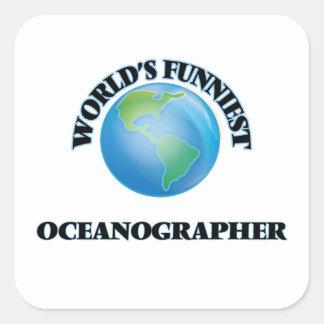 El oceanógrafo más divertido del mundo pegatina cuadrada