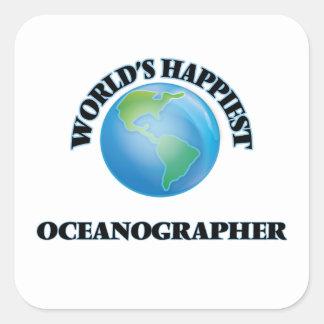 El oceanógrafo más feliz del mundo pegatina cuadrada