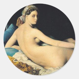 El Odalisque magnífico Jean 1814 Auguste Dominique Etiquetas Redondas