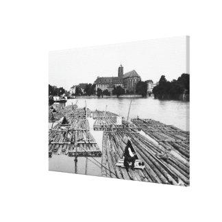 El Oder en Breslau Polonia, c.1910 Lona Estirada Galerías