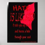 El odio es como el poster ácido de la sangre