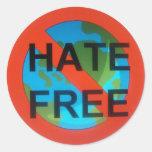 El odio libera el stricker pegatina redonda