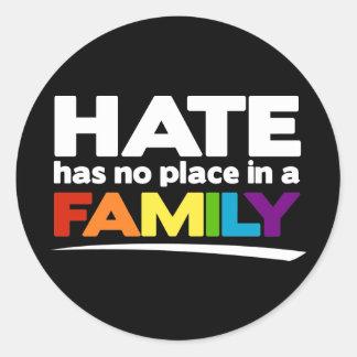 El odio no tiene ningún lugar en una familia etiquetas redondas