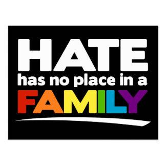El odio no tiene ningún lugar en una familia tarjetas postales