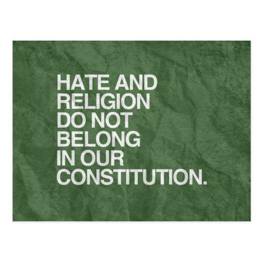 EL ODIO Y LA RELIGIÓN NO PERTENECEN - .PNG POSTALES