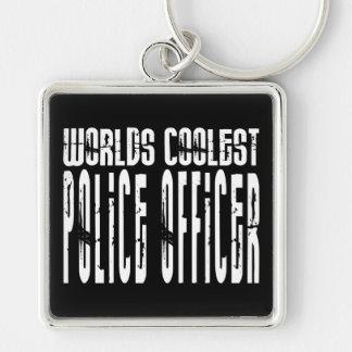 El oficial de policía más fresco de los mundos fre llavero cuadrado plateado