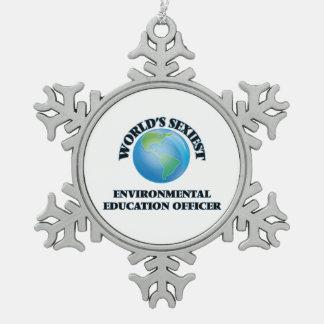 El oficial más atractivo de la educación ambiental adorno de peltre en forma de copo de nieve