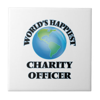 El oficial más feliz de la caridad del mundo azulejo cuadrado pequeño