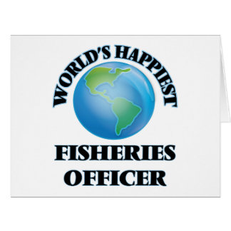 El oficial más feliz de las industrias pesqueras tarjeta de felicitación grande