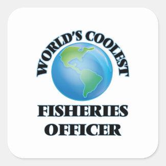 El oficial más fresco de las industrias pesqueras pegatinas cuadradas personalizadas