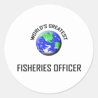 El oficial más grande de las industrias pesqueras pegatina redonda