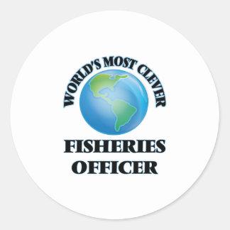 El oficial más listo de las industrias pesqueras pegatina redonda