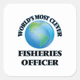 El oficial más listo de las industrias pesqueras calcomanías cuadradass