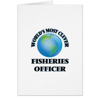 El oficial más listo de las industrias pesqueras tarjeta de felicitación