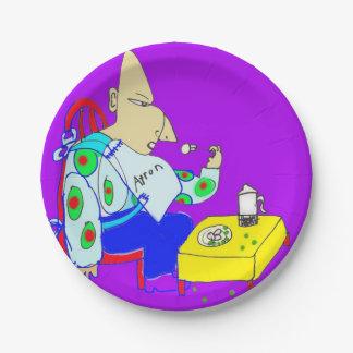 El ogro come los guisantes y las patatas plato de papel de 7 pulgadas
