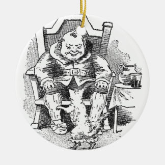 El ogro recibe el Puss en botas Adorno Navideño Redondo De Cerámica