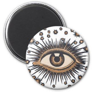 El ojo celestial del vintage protagoniza la luna imán redondo 5 cm