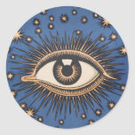 El ojo celestial del vintage protagoniza la luna etiquetas