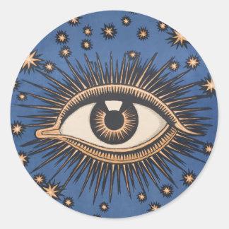El ojo celestial del vintage protagoniza la luna pegatina redonda