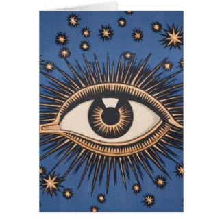 El ojo celestial del vintage protagoniza la luna tarjeton