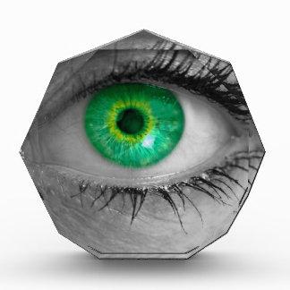 El ojo con el iris verde mira macro del concepto