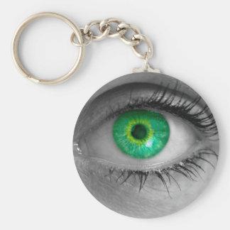 El ojo con el iris verde mira macro del concepto llavero redondo tipo pin