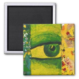 El ojo - conciencia del oro y de la esmeralda cent imán cuadrado