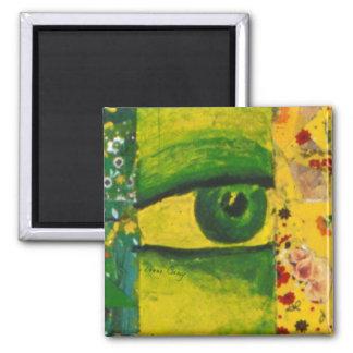 El ojo - conciencia del oro y de la esmeralda imán cuadrado