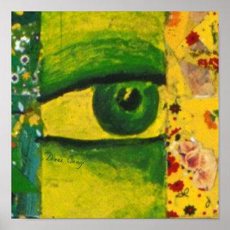 El ojo - conciencia del oro y de la esmeralda impresiones
